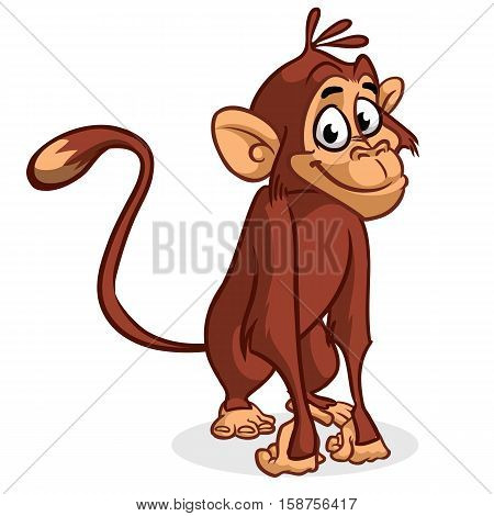 Vector illustration of isolated chimp monkey sitting