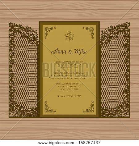 Wedding Invitation Or Greeting Card With The Gate And Ivy. Paper Lace Envelope Template. Wedding Inv