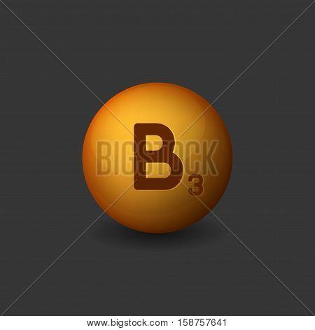 Vitamin B3 Orange Glossy Sphere Icon on Dark Background. Vector illustration