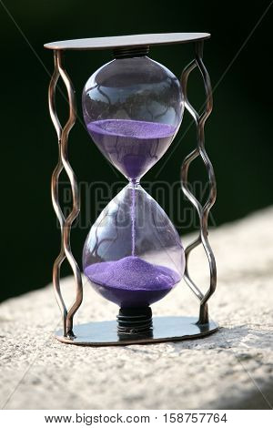 the hourglass counting down the time remaining