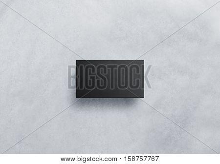 Blank black visit card design mockup, grey craft paper. Plain dark business namecard presentation.