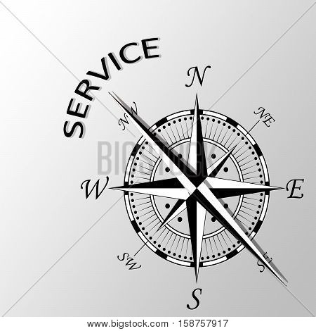 Illustration of service written aside a compass