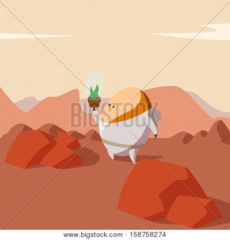 Colorful cartoon illustration of a Martian astronaut farmer growing plants on Mars for food.