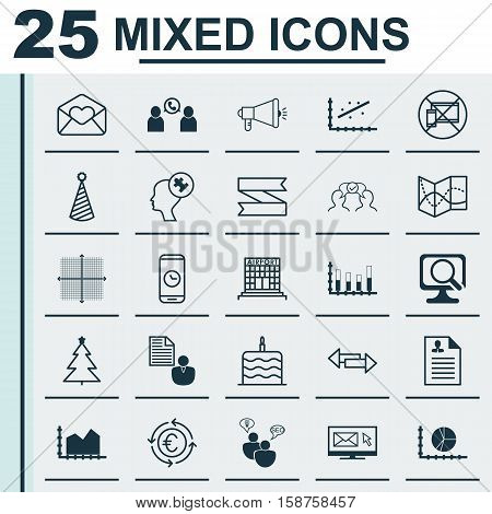 Set Of 25 Universal Editable Icons. Can Be Used For Web, Mobile And App Design. Includes Icons Such As Call Duration, Greeting Email, Sequence Graphics And More.