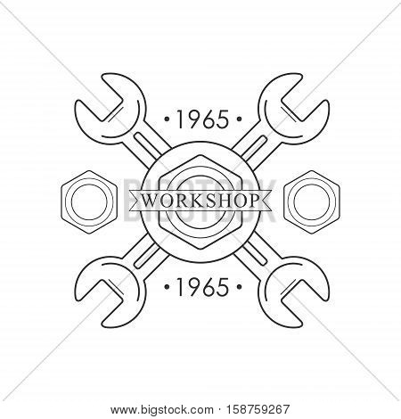 Crossed Wrenches Premium Quality Wood Workshop Monochrome Retro Stamp Vector Design Template. Black And White Illustration With Instruments And Working Equipment Objects Silhouettes With Text.