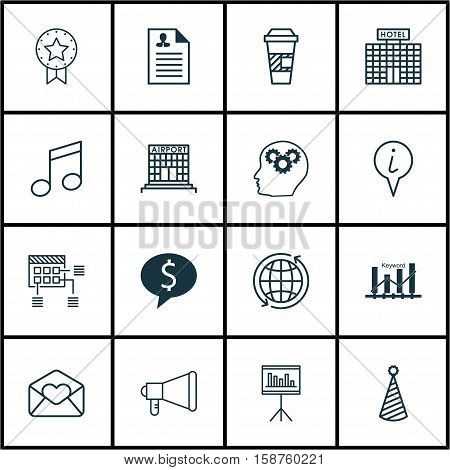 Set Of 16 Universal Editable Icons. Can Be Used For Web, Mobile And App Design. Includes Icons Such As Schedule, Presentation, Crotchets And More.