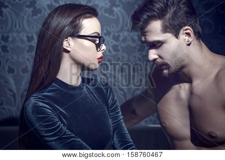 Sad couple in crisis with problems at night confess lover