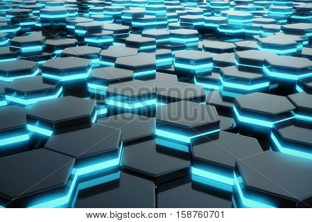 Abstract blue glowing of futuristic surface hexagon pattern, 3D Rendering