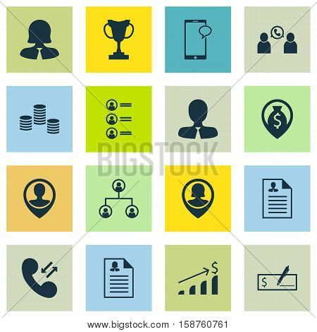 Set Of Hr Icons On Employee Location, Money And Phone Conference Topics. Editable Vector Illustration. Includes Employee, Career, Cup And More Vector Icons.