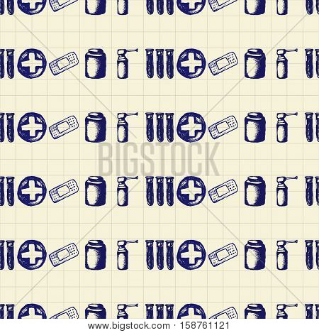 Healthcare and medicine. Vector doodle seamless pattern with pills, test tubes, plaster and crosses. Medical hand drawn icons on checkered background.