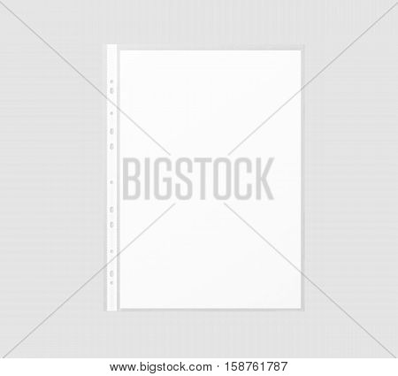 Blank white A4 paper sheet mockup in transparent plastic sleeve 3d rendering. Cellophane document protector pocket mock up.