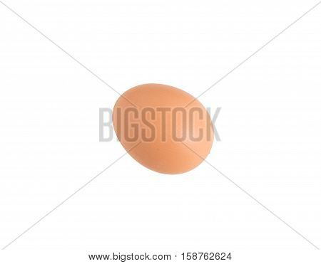 Closeup of chicken egg. Isolated on a white background.