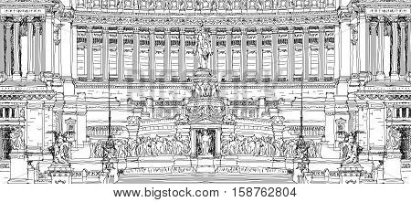 Altar of the Fatherland (Altare della Patria) 1925. Piazza Venezia. Vittorio Emanuele II in Rome, Italy. Sketch collection
