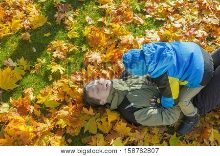 Father and son family playful fighting aerial portrait at bright yellow and orange autumn fallen leaves groundcover