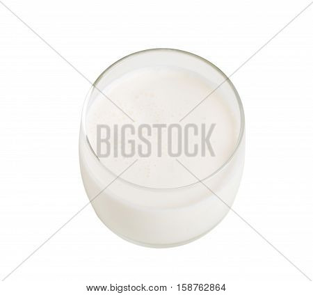 Glass of fresh milk closeup. Isolated on a white background.