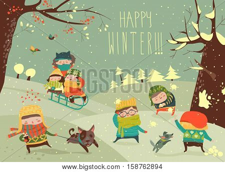 Vector illustration, cute kids playing winter games, card concept