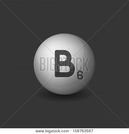 Vitamin B6 Silver Glossy Sphere Icon on Dark Background. Vector illustration
