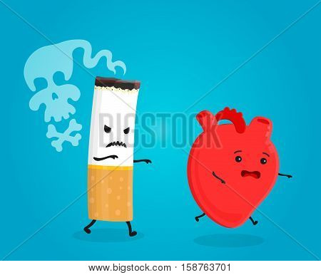 Smoking kill heart. Stop smoking concept. Cigarette kills. Vector flat cartoon character illustration