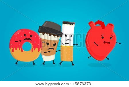 Angry donut coffee paper cup and cigarette kill healthy heart. Nightmare health heart. Vector flat cartoon character isolated illustration