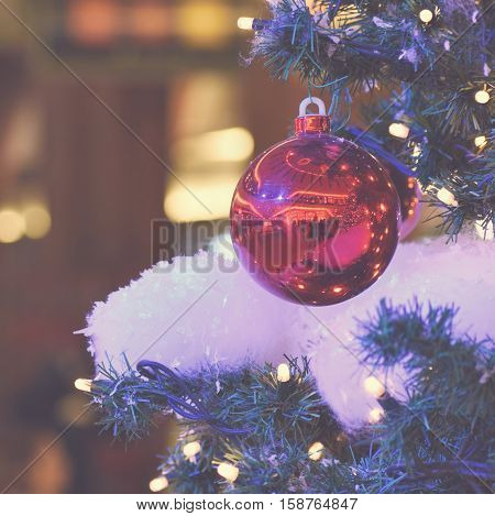 Colorful christmas Decoration. Winter holidays and traditional ornaments. Lighting chains-bulbs for seasonal background.