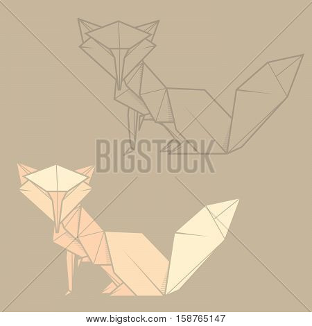 Set vector simple illustration paper origami and contour drawing of fox.