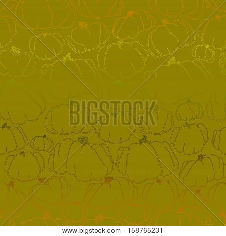 Pumpkins green seamless pattern Thanksgiving autumn fall background. Vector illustration stock vector.