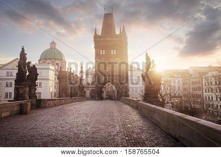 Sunrise on Charles Bridge in Prague Czech Republic