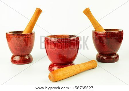 Mortar with pestle isolated on white background
