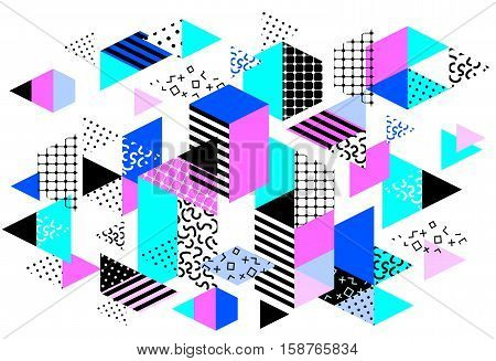 Memphis horizontal design with geometric shapes. Abstract 80s-90s styles design. Trendy memphis style. Colorful geometric hipster poster background. Vector illustration stock vector.