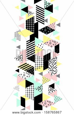 Memphis verical seamless border with geometric shapes. Abstract 80s-90s styles design. Trendy memphis style. Colorful geometric hipster poster background set. Vector illustration stock vector.