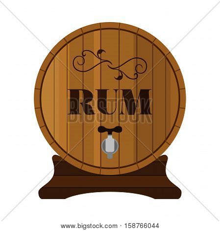 Rum barrel. Alcohol drink in flat style design. Vector illustration. Rum whiskey brandy liquor for pubs restaurants hipster bars