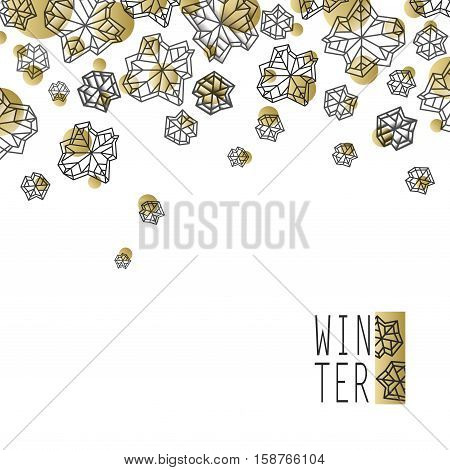 Horizontal border frame. Winter polygonal trendy style snowflakes on white gold background. Winter holidays snowfall concept. Vector illustration stock vector.
