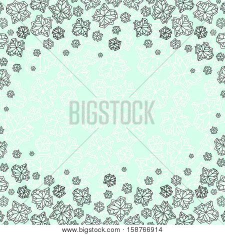 Horizontal border frame. Winter polygonal trendy style snowflakes on green mint background. Winter holidays snowfall concept. Vector illustration stock vector.