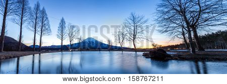 Mount Fuji Fujisan mountain with sunrise Japan Panorama