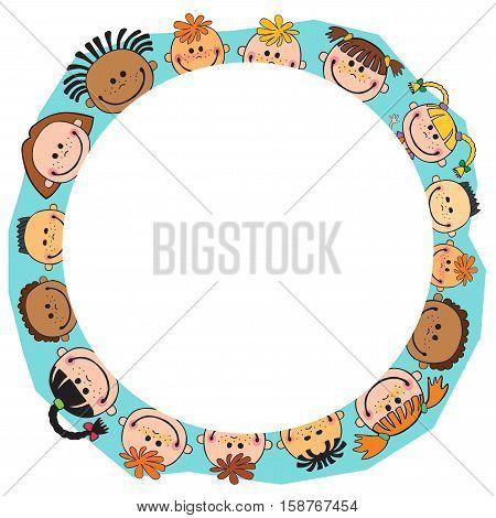 illustration of kids bunner around gildren behind circle poster vector