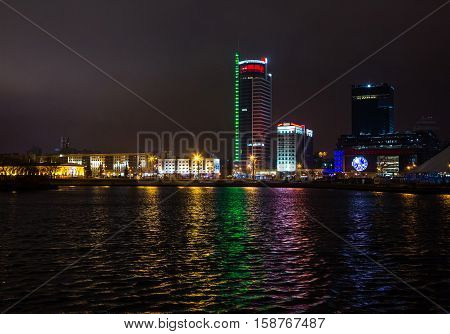 Belarus Minsk Pobediteley avenue at night the lighting of houses 19.11.2016 year the editorial. Avenue Winners