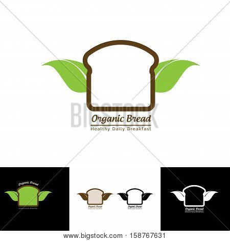organic bread logo with leaf wings suitable for any bakery shop, craft, cake brand product or any others