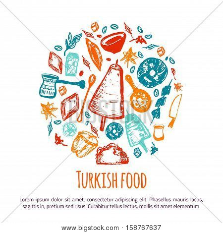 Turkish food hand drawn circle banner with lettering and beverages with Kebab, Dolma, Shakshuka. Freehand vector doodles isolated on white background.