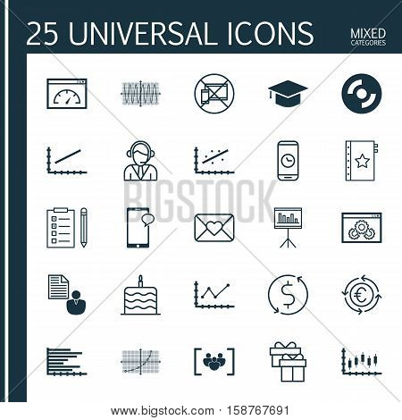 Set Of 25 Universal Editable Icons. Can Be Used For Web, Mobile And App Design. Includes Icons Such As Graduation, Celebration Letter, Loading Speed And More.