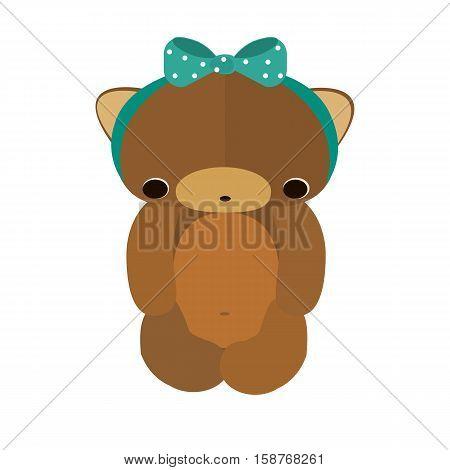 Cute teddy bear. Vector flat illustration. Cute Teddy baby-boy.