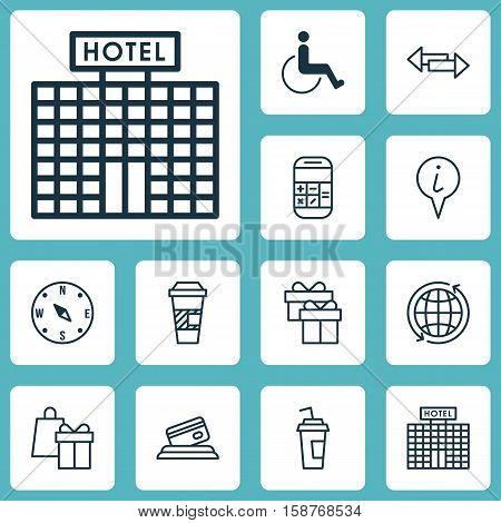 Set Of Travel Icons On Credit Card, Present And Hotel Construction Topics. Editable Vector Illustration. Includes Card, Math, Paralyzed And More Vector Icons.