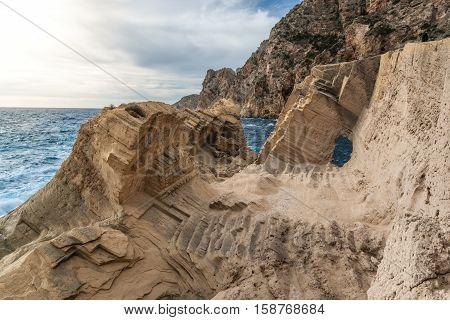 The worked stone rock of Atlantis on the island of Ibiza
