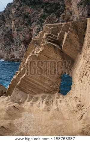 The majestic weathered and eroded rocks of Atlantis on the island of Ibiza