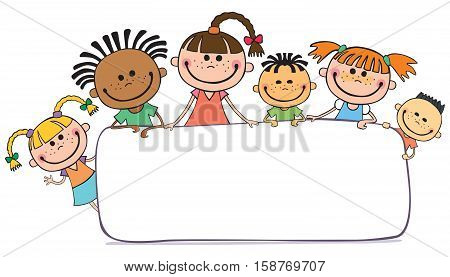 illustration of kids peeping behind banner vector