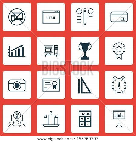 Set Of 16 Universal Editable Icons. Can Be Used For Web, Mobile And App Design. Includes Icons Such As Certificate, Plastic Card, Present Badge And More.