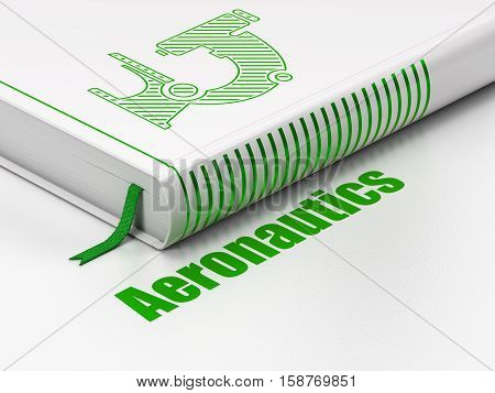 Science concept: closed book with Green Microscope icon and text Aeronautics on floor, white background, 3D rendering