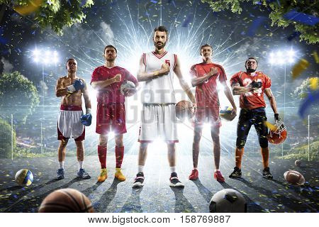 Multi sports collage boxing basketball soccer american football volleyball