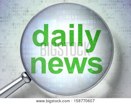 News concept: magnifying optical glass with words Daily News on digital background, 3D rendering