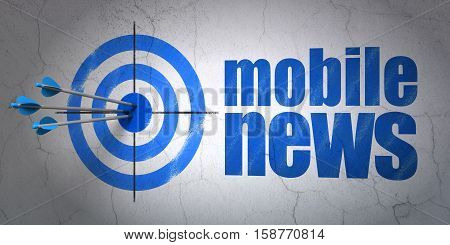 Success news concept: arrows hitting the center of target, Blue Mobile News on wall background, 3D rendering