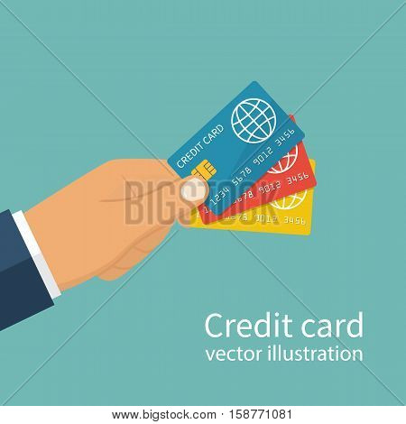 Many Credit Cards Holding In Hand.